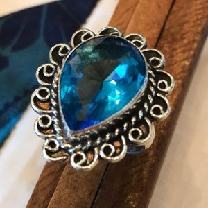 Faceted London Blue Topaz Gemstone Ring Size 7.25